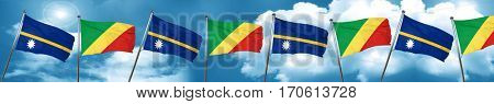 Nauru flag with congo flag, 3D rendering