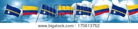 Nauru flag with Colombia flag, 3D rendering
