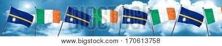 Nauru flag with Ireland flag, 3D rendering
