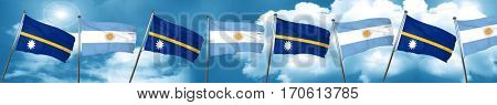 Nauru flag with Argentine flag, 3D rendering