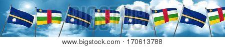 Nauru flag with Central African Republic flag, 3D rendering