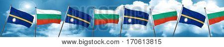 Nauru flag with Bulgaria flag, 3D rendering
