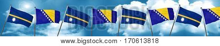 Nauru flag with Bosnia and Herzegovina flag, 3D rendering