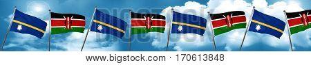 Nauru flag with Kenya flag, 3D rendering
