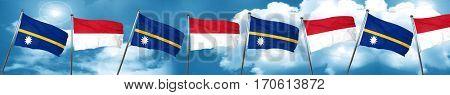 Nauru flag with Indonesia flag, 3D rendering