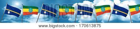 Nauru flag with Ethiopia flag, 3D rendering