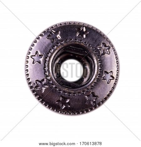 metal button on jeans isolated on white