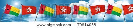 Guinea bissau flag with Hong Kong flag, 3D rendering