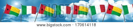 Guinea bissau flag with Italy flag, 3D rendering