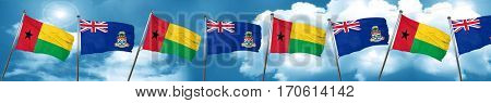 Guinea bissau flag with Cayman islands flag, 3D rendering