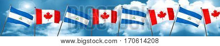 nicaragua flag with Canada flag, 3D rendering
