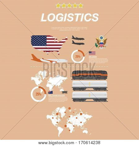 Set flat vector illustrations on the theme of logistics and transportation. Aircraft for air traffic and rail train with tank for transport of liquid cargo.
