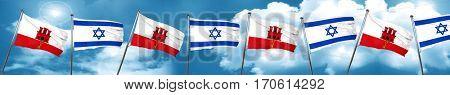 gibraltar flag with Israel flag, 3D rendering