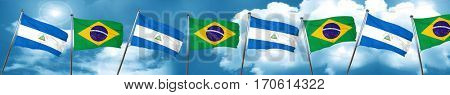 nicaragua flag with Brazil flag, 3D rendering