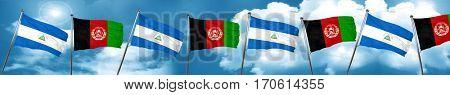 nicaragua flag with afghanistan flag, 3D rendering