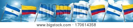 nicaragua flag with Colombia flag, 3D rendering