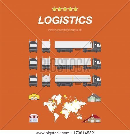 Set flat vector illustrations on the theme of logistics and transport. Truck with container, refrigerator and tank front view, rear and side. Warehouse for storing goods, house and shop.