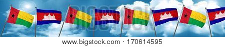 Guinea bissau flag with Cambodia flag, 3D rendering