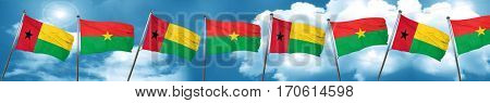 Guinea bissau flag with Burkina Faso flag, 3D rendering
