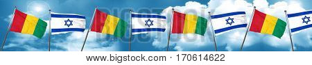Guinea flag with Israel flag, 3D rendering