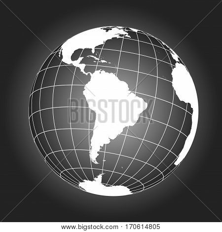 South America Map In Black And White