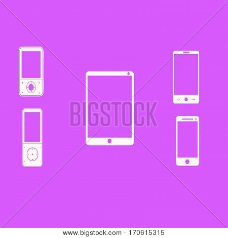Mobile phones white on a pink background. Vector illustration