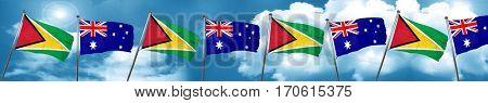 Guyana flag with Australia flag, 3D rendering