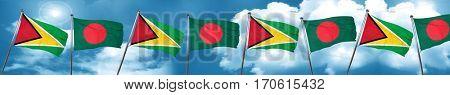 Guyana flag with Bangladesh flag, 3D rendering