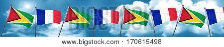 Guyana flag with France flag, 3D rendering