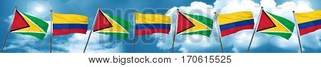 Guyana flag with Colombia flag, 3D rendering