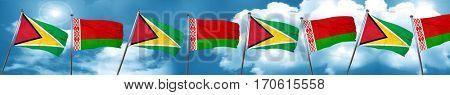 Guyana flag with Belarus flag, 3D rendering