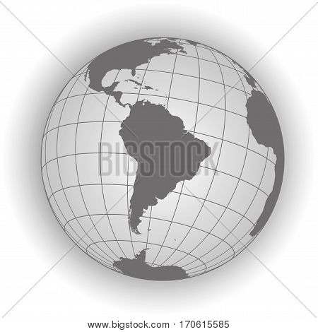 South America Map In Gray Tones