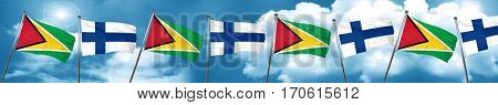 Guyana flag with Finland flag, 3D rendering