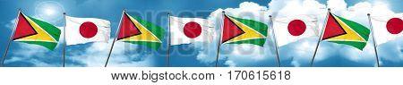 Guyana flag with Japan flag, 3D rendering