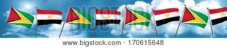 Guyana flag with egypt flag, 3D rendering