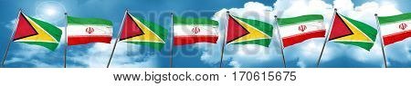 Guyana flag with Iran flag, 3D rendering