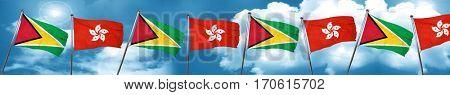 Guyana flag with Hong Kong flag, 3D rendering