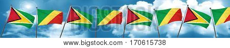 Guyana flag with congo flag, 3D rendering