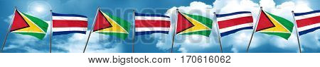 Guyana flag with Costa Rica flag, 3D rendering