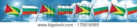 Guyana flag with Bulgaria flag, 3D rendering