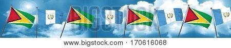 Guyana flag with Guatemala flag, 3D rendering