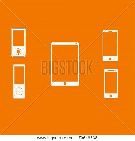Mobile phones white on an orange background. Vector illustration