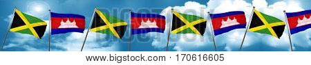 Jamaica flag with Cambodia flag, 3D rendering