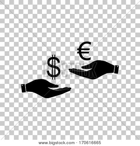 Currency exchange from hand to hand. Dollar adn Euro. Black icon on transparent background.