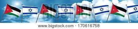 Jordan flag with Israel flag, 3D rendering