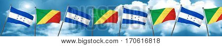 Honduras flag with congo flag, 3D rendering