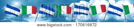 Honduras flag with Italy flag, 3D rendering