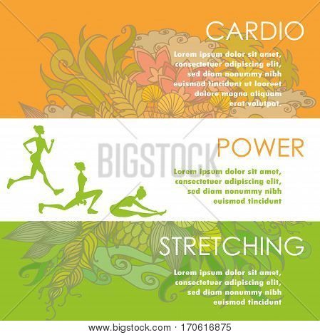 Set of horizontal color banners about different physical activity and flowers on background cartoon stock vector illustration