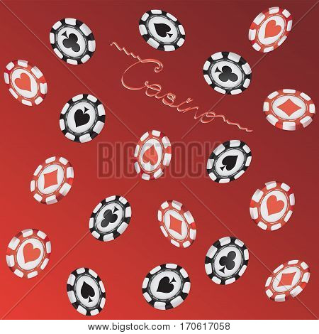 Falling chips. Casino. Gambling, roulette, realistic stacks on red-black background with text. Vector illustration.