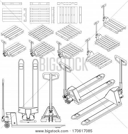 hand fork lift truck and pallet isometric outline